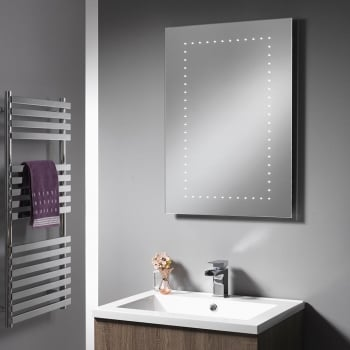 Ascent Mirrors Atlanta Battery Operated Mirror with LED Lights - 500 x 700mm