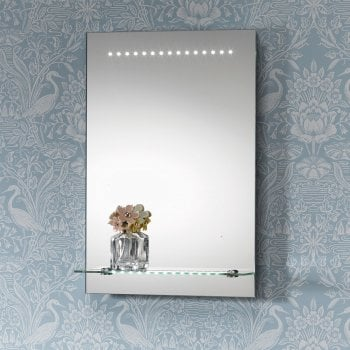 Ascent Mirrors Bologna Mirror with LED Lights & Lit Shelf - 395 x 600mm