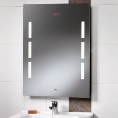 Crystal Mirror with Back-Lit Lights, LED Clock & Rear Anti-Mist Pad - 600 x 800mm