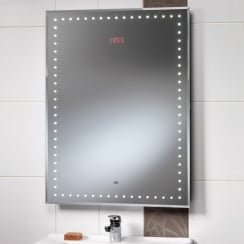 Ravenna Mirror with LED Lights, LED Clock & Rear Anti-Mist Pad - 650 x 850mm