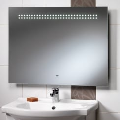 Western Mirror with LED Lights, Shaver Socket & Rear Anti-Mist Pad - 800 x 600mm