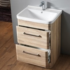 Venice Floorstanding Base Unit & Basin - Sonoma Oak