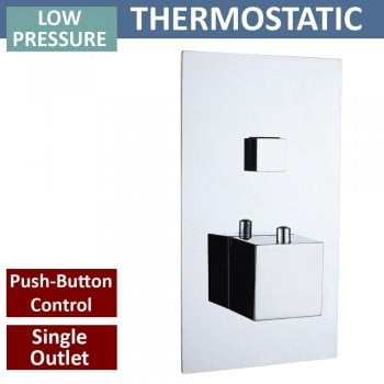 Ascent Showering Gemini Square Single Thermostatic Push-Button Shower Valve with 1 Outlet (controls 1 function)