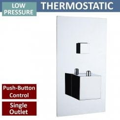 Gemini Square Single Thermostatic Push-Button Shower Valve with 1 Outlet (controls 1 function)