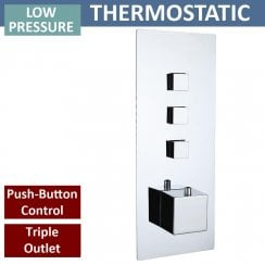 Gemini Square Triple Thermostatic Push-Button Shower Valve with 3 Outlets (controls 3 functions)