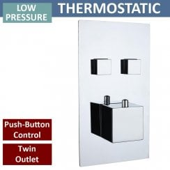 Gemini Square Twin Thermostatic Push-Button Shower Valve with 2 Outlets (controls 2 functions)
