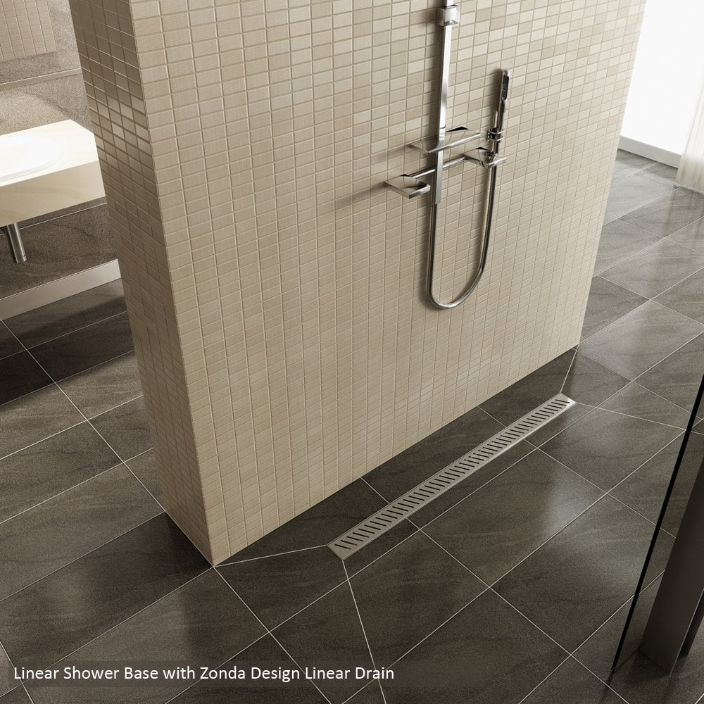 Ascent showering linear drain wetroom shower base ascent for Wet room drain