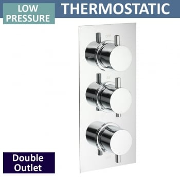 Ascent Showering Ohio Triple Thermostatic Shower Valve with 2 Outlets (controls 2 functions, simultaneously)