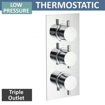 Ascent Showering Ohio Triple Thermostatic Shower Valve with 3 Outlets (controls 3 functions, 2 at a time)