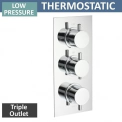 Ohio Triple Thermostatic Shower Valve with 3 Outlets (controls 3 functions, 2 at a time)