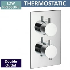 Ohio Twin Thermostatic Shower Valve with 2 Outlets (controls 2 functions, 1 at a time)