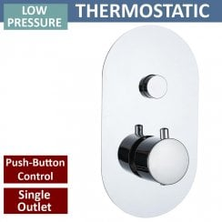 Rimini Round Single Thermostatic Push-Button Shower Valve with 1 Outlet (controls 1 function)