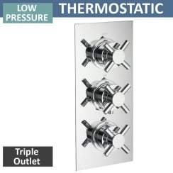 Trio Triple Thermostatic Shower Valve with 3 Outlets (controls 3 functions, 2 at a time)