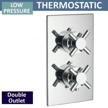 Ascent Showering Trio Twin Thermostatic Shower Valve with 2 Outlets (controls 2 functions, 1 at a time)