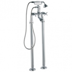 Edwardian Bath Shower Mixer & Kit with Tap Legs (2 Hole)