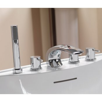 Ascot Ohio Bath Shower Mixer with Curved Spout & Kit (5 Hole)