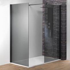 8mm Black/Smoked Glass Shower Wall with Easy-Clean Glass