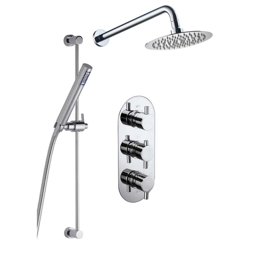 Genesis Ebony Round Shower Kit with Fixed Head, Slider Kit & Valve ...