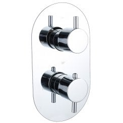 Ebony Round Twin Thermostatic Shower Valve with 1 Outlet (controls 1 function)