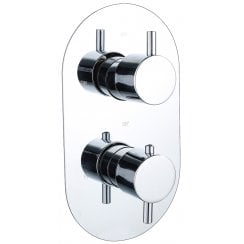 Ebony Round Twin Thermostatic Shower Valve with 2 Outlets (controls 2 functions)