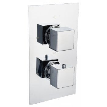 Genesis Ebony Square Twin Thermostatic Shower Valve with 1 Outlet (controls 1 function)