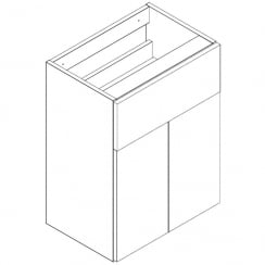 500mm 2-Door, 1-Drawer Base Unit - 345mm Depth