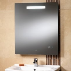 Rania Mirror with Back-Lit Light, LED Clock & Shaver Socket - 600 x 700mm