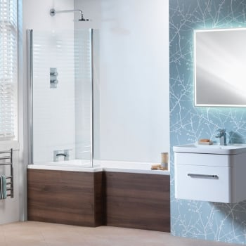 Genesis Vermont 'L' Shaped Shower Bath, Vermont Screen & Wooden Front Panel (Standard & Superspec) - 1500 & 1700mm