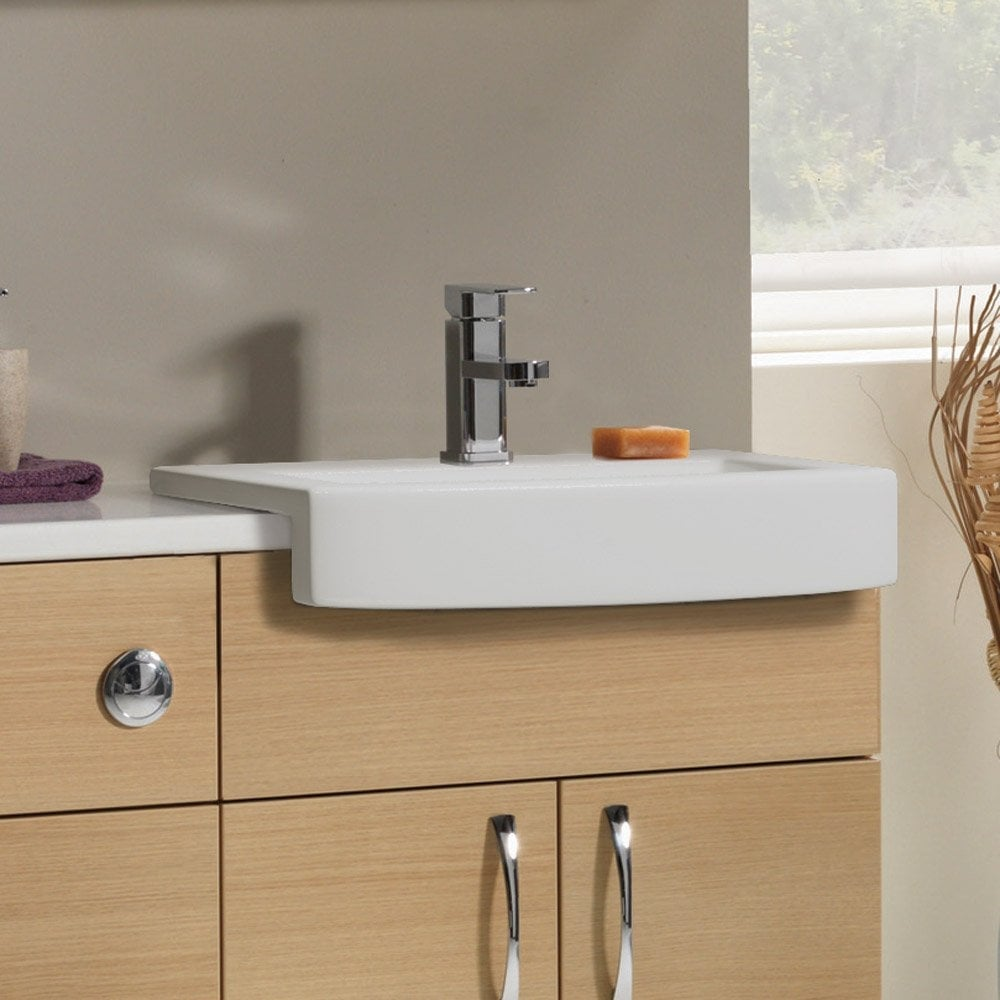 Beautiful   Aqua Cabinets 600mm Vanity With Semirecessed Curve Basin  White